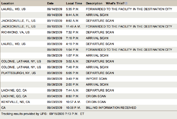 Cali to Maryland to Florida to Maryland to...  It's not just a shipment, it's an adventure!